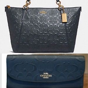 COACH signature embossed tote w/ matching wallet